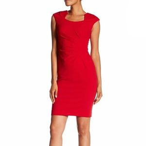 NWOT Red Sheath Faux Wrap Dress w/ Cap Sleeves 12